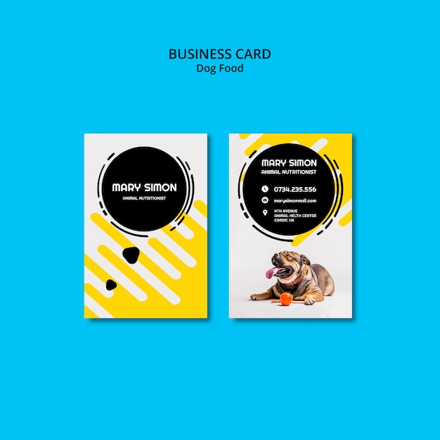 Colorful dog check-up business card Free Psd