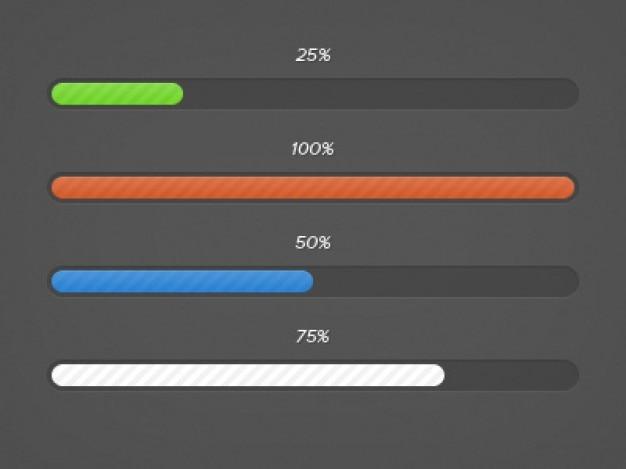 Colorful download progress bars Free Psd