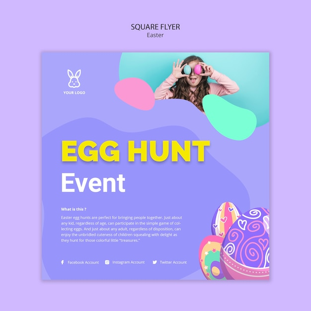 Colorful easter egg flyertemplate Free Psd