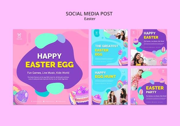 Modello variopinto dell'alberino del instagram dell'uovo di pasqua Psd Gratuite