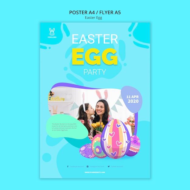 Modello variopinto del manifesto del partito dell'uovo di pasqua Psd Gratuite