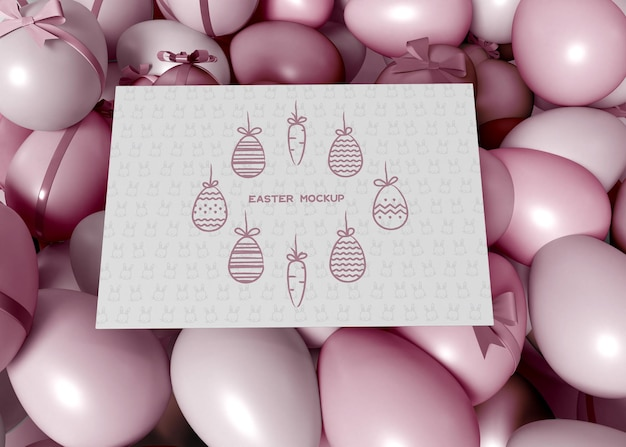 Colorful easter eggs with card mockup Free Psd