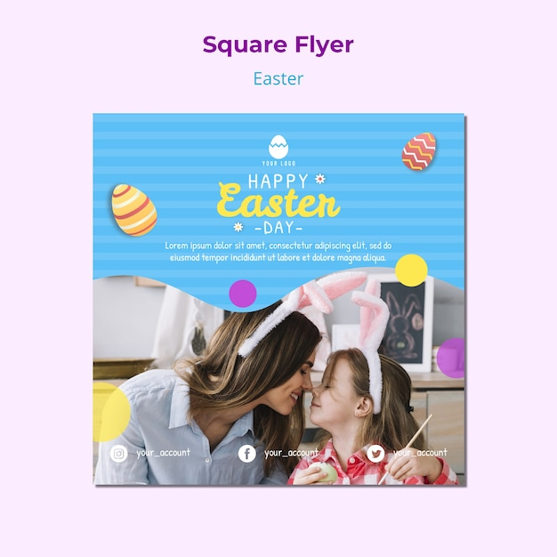 Colorful easter flyer template with eggs Free Psd