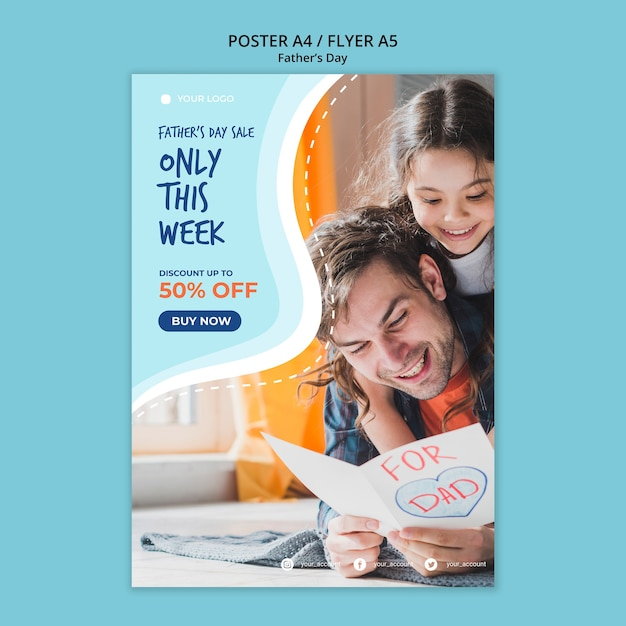 Colorful fathers day poster template Free Psd