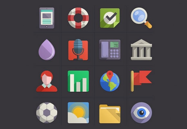 Colorful flat icon set psd Free Psd