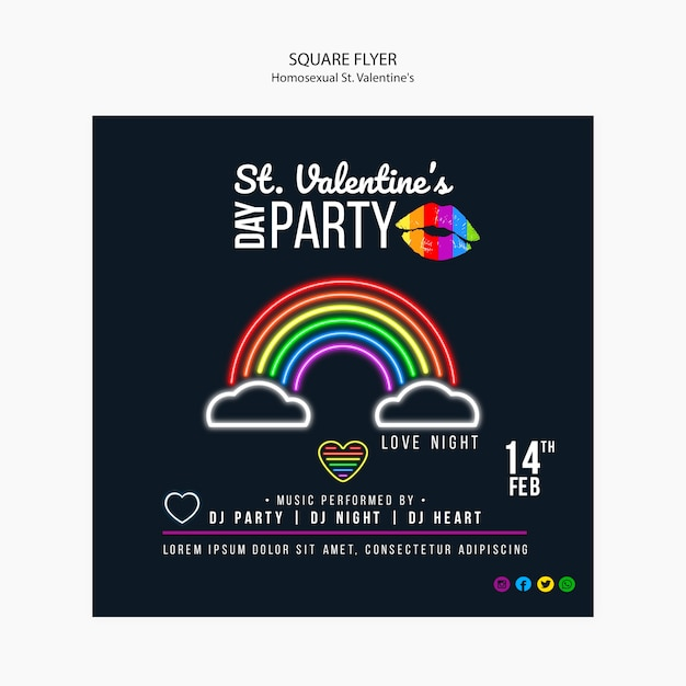 Colorful flyer for st. valentine's lgbt party Free Psd