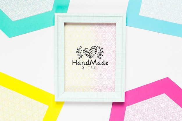 Colorful handmade frame with mock-up Free Psd