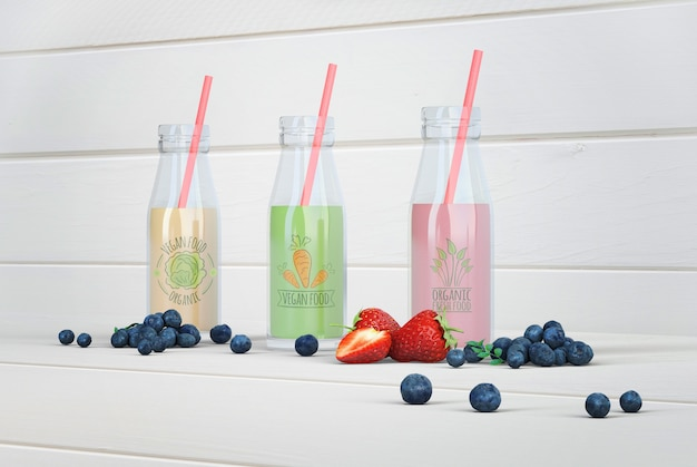 Colorful healthy smoothies mock-up Free Psd