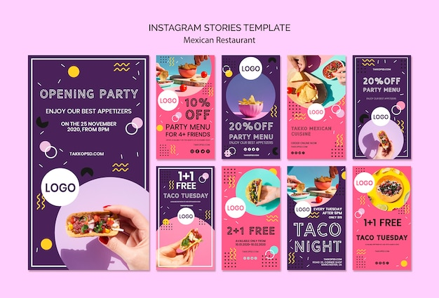Colorful instagram stories template of mexican food Free Psd