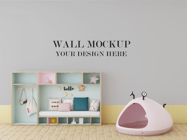 Красочный макет стены детской комнаты с игрушками Premium Psd