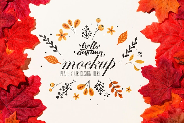 Colorful leaves mock-up style Free Psd