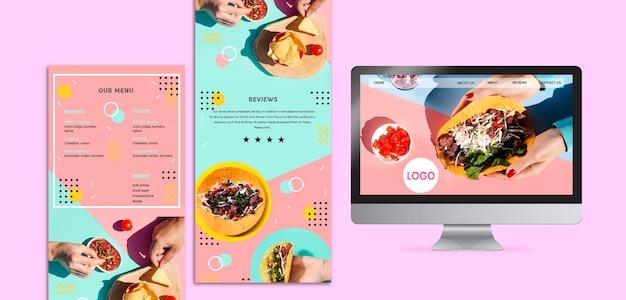 カラフルなメキシコ料理のモックアップ 無料 Psd