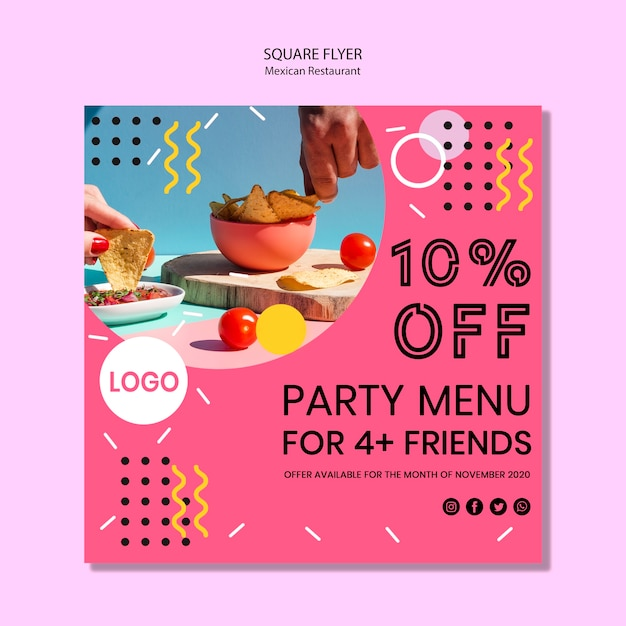 Colorful mexican food square flyer Free Psd