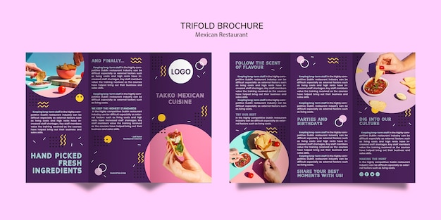 Colorful mexican food trifold brochure mock-up Free Psd