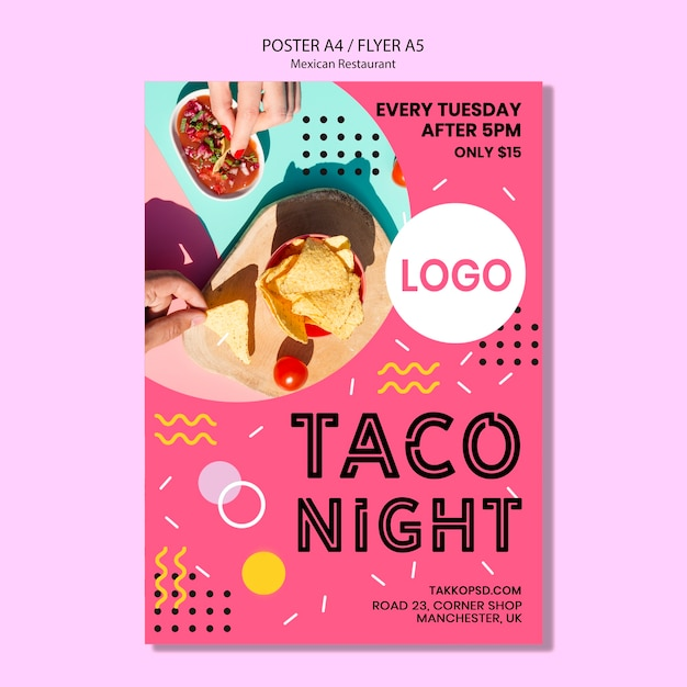 Colorful mexican taco night poster mock-up Free Psd