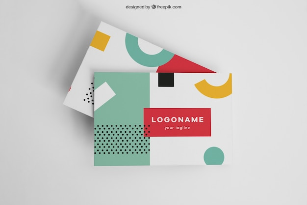 Colorful modern business card mockup Free Psd