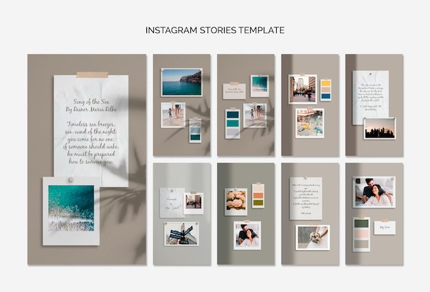 Colorful moodboards instagram stories template Free Psd
