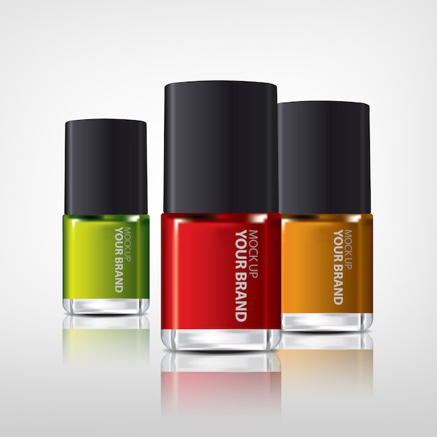 Colorful nail polish bottles Free Psd