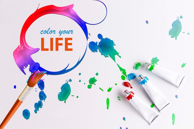 Colorful paint concept mock-up Free Psd