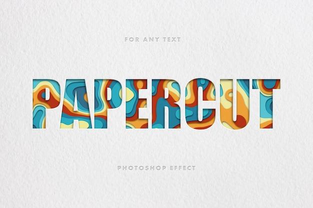Красочный шаблон текстового эффекта papercut Premium Psd
