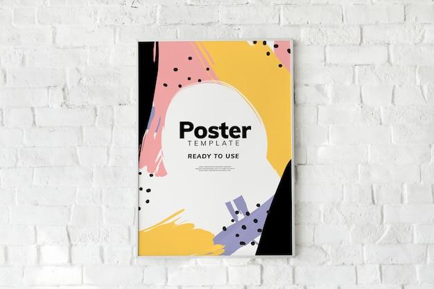 Красочный шаблон плаката на белой кирпичной стене Бесплатные Psd