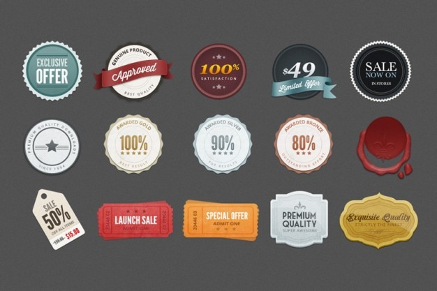Colorful promotion badges PSD Free Psd