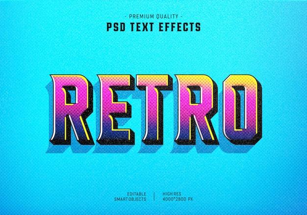 Красочный ретро стиль текста эффект Premium Psd