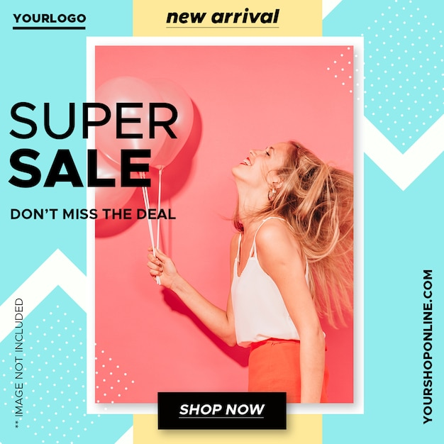 Colorful sale banner template Free Psd