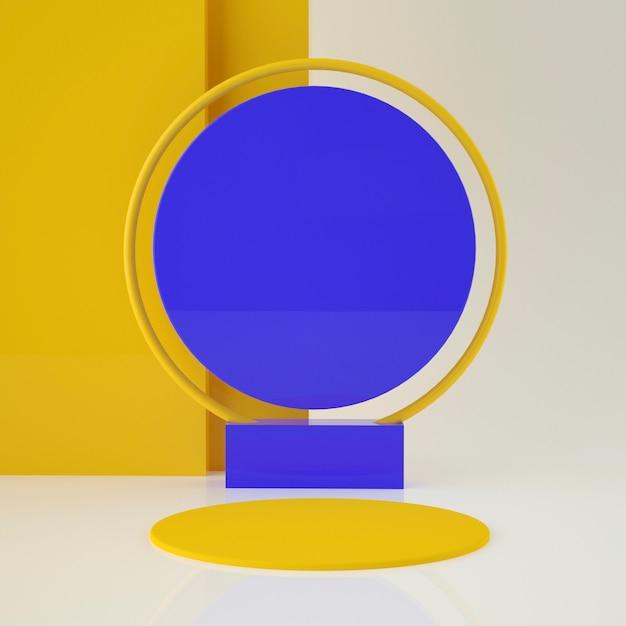배경과 편집 가능한 색상으로 제품 배치를위한 다채로운 세트 홀로그램 3d 기하학적 무대 프리미엄 PSD 파일