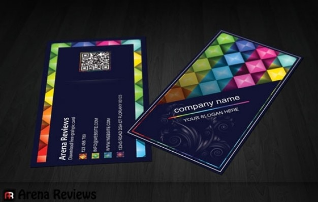 colorful shapes business card template psd file free download