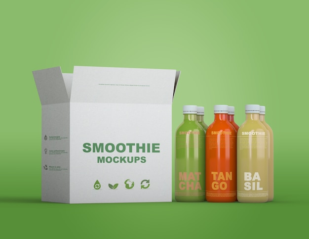 Colorful smoothie packaging mock-up Free Psd