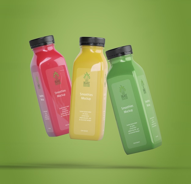 Colorful smoothies on green background Free Psd