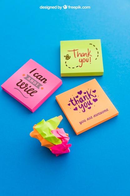 colorful sticky note mockup psd file