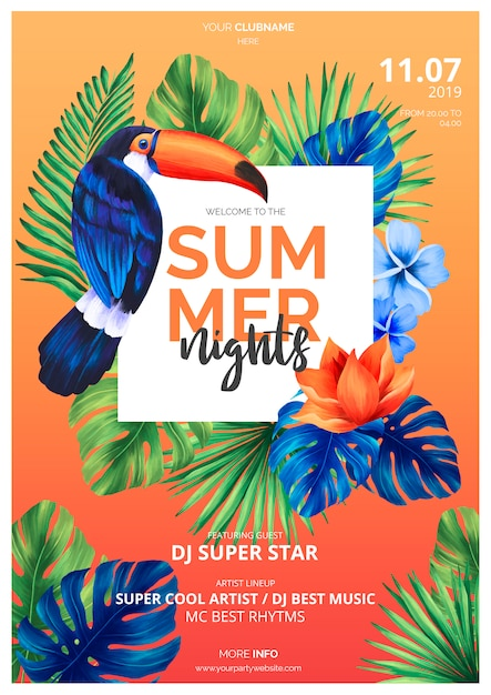 Colorful summer nights poster template with toucan Free Psd