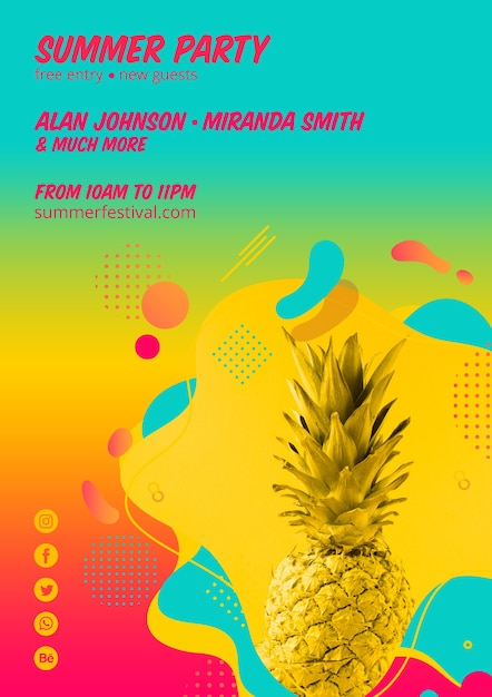 Colorful summer party poster template Free Psd