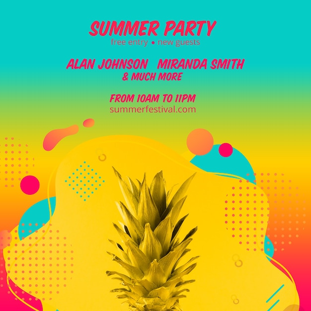 Colorful summer party square post template Free Psd
