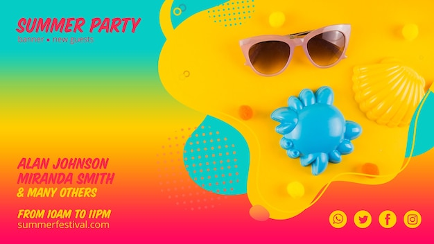 Colorful summer party web banner template Free Psd