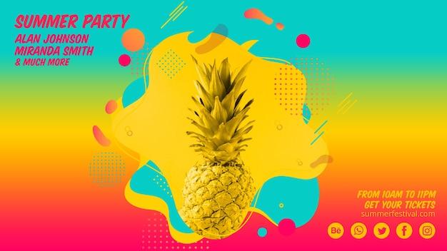 Modello di banner web colorato estate festa Psd Gratuite