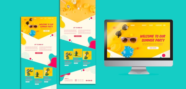 Colorful summer party website templates Free Psd