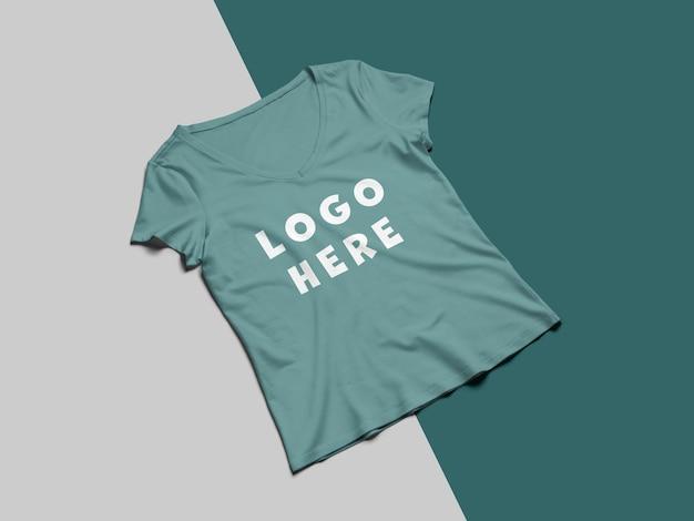 화려한 티셔츠 앞면 모형 디자인 프리미엄 PSD 파일