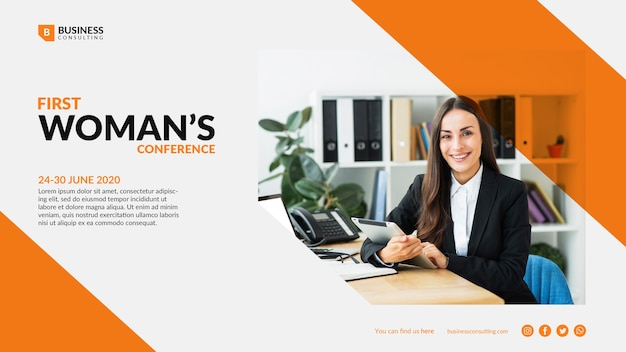 Colorful template for business woman Free Psd