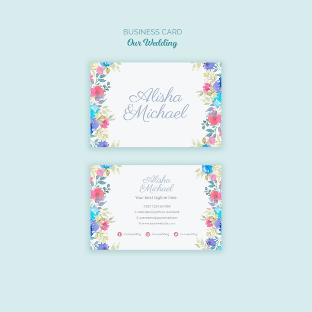 Colorful wedding concept business card Free Psd