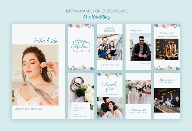 Colorful wedding concept social media template Free Psd