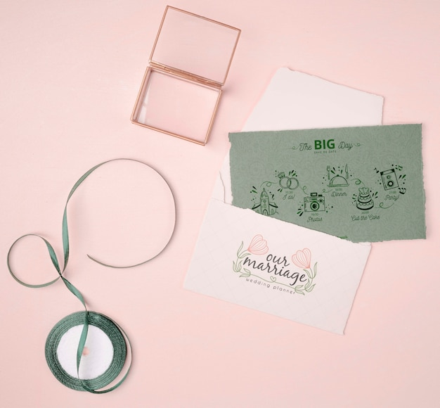 Colorful wedding invitation with ribbon Free Psd