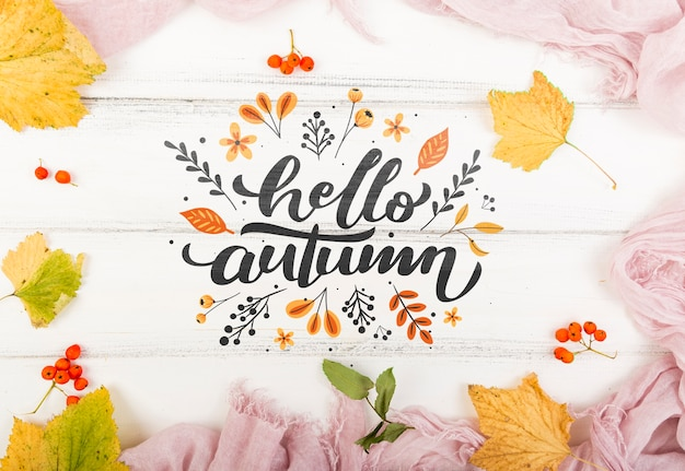 Colorful welcoming message for autumn Free Psd
