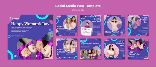 Colorful womens day instagram post collection Free Psd