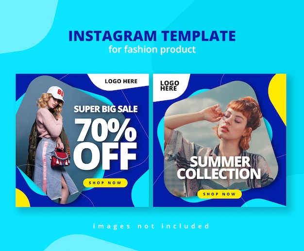Colorfull rounded shape instagram feed template Premium Psd