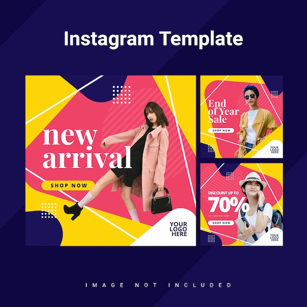 Colorfull rounded triangle instagram feed template Premium Psd