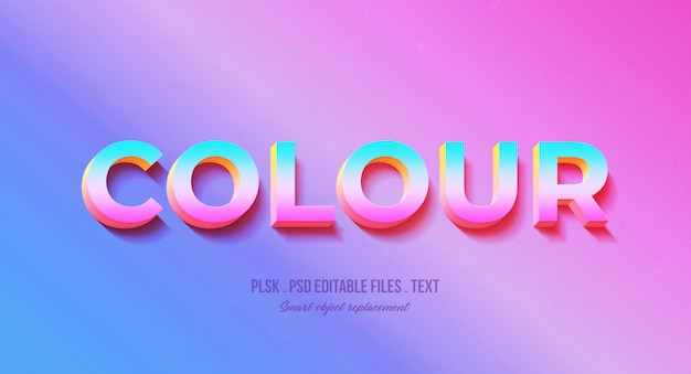 Colour 3d Text Style Effect Mockup Psd File Premium Download
