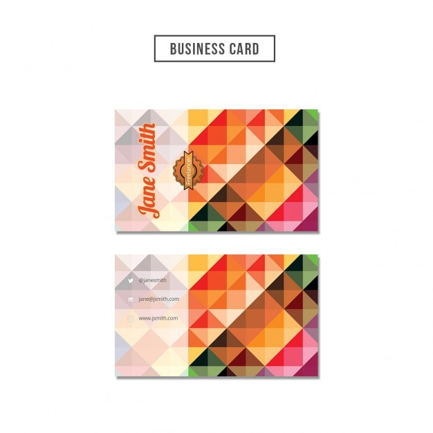 Coloured polygonal business card Free Psd